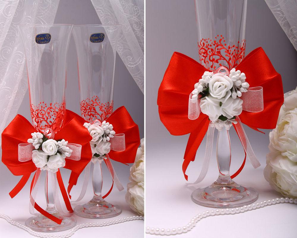 Свадебные бокалы Flowers red