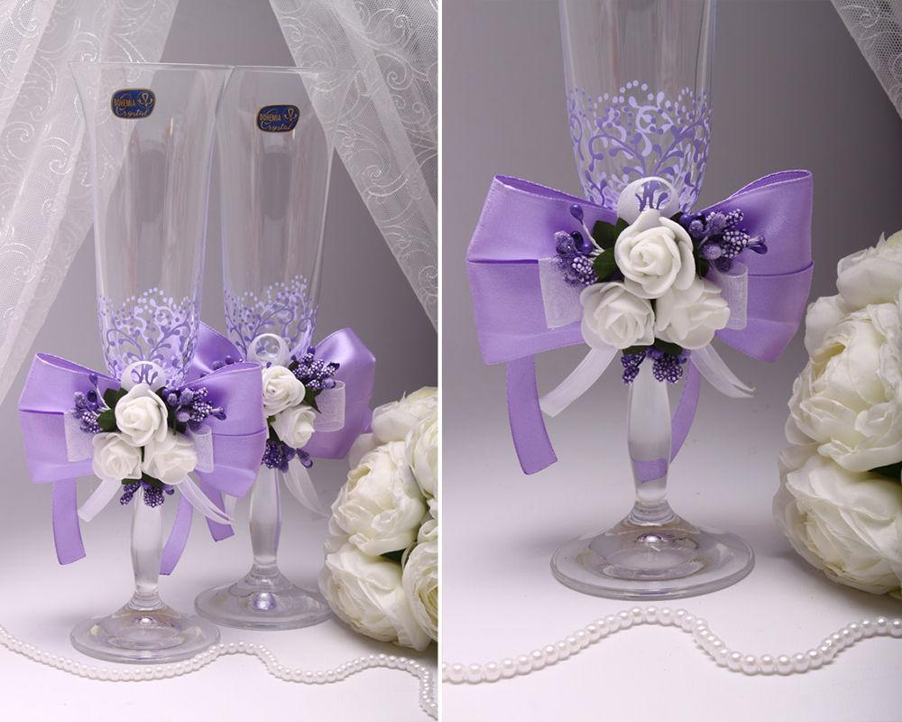 Свадебные бокалы Flowers purple