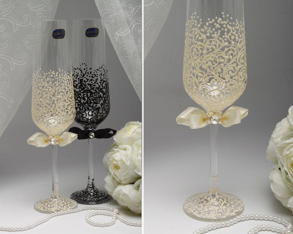 Свадебные бокалы Черный и Айвори