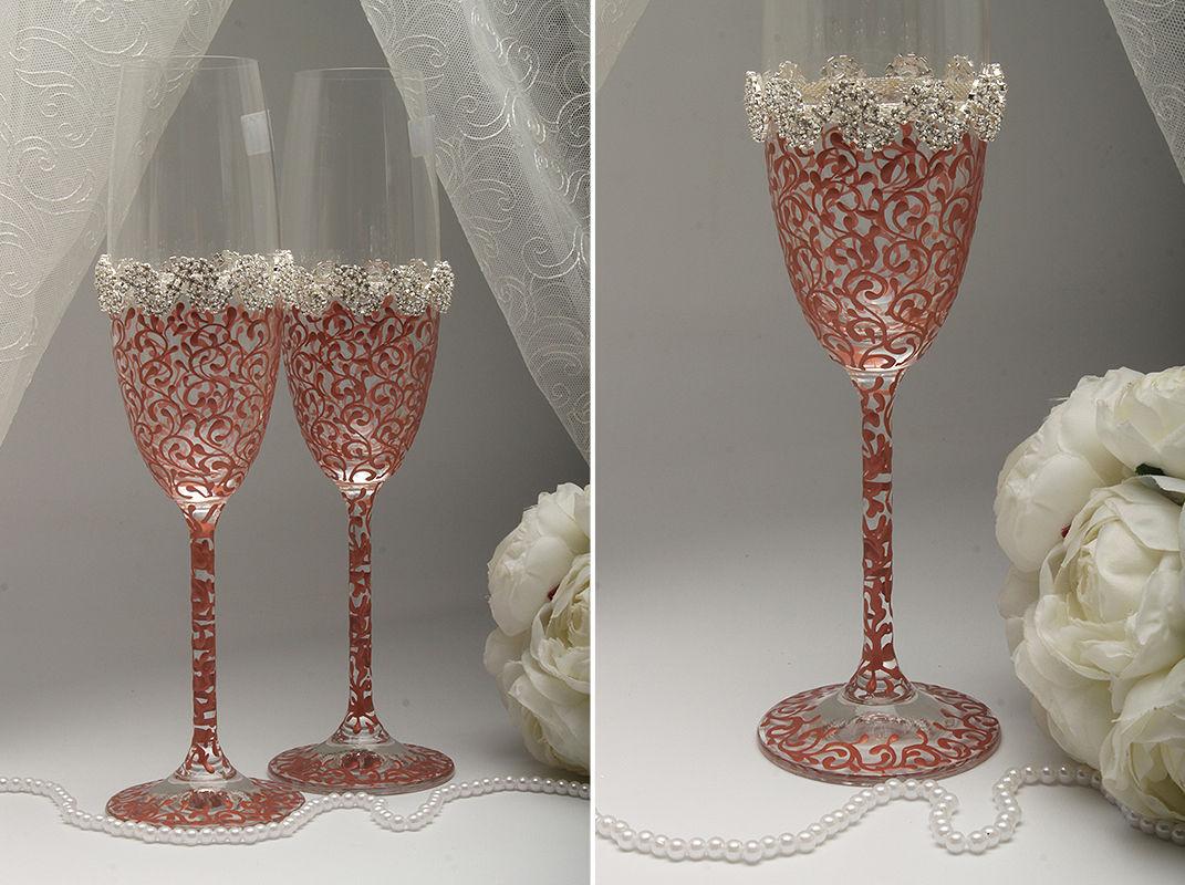 Свадебные бокалы Gold rose crystal