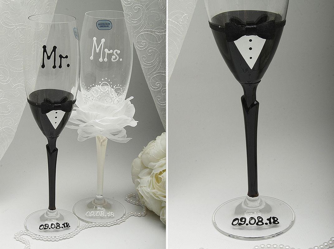 Свадебные бокалы Mister & Missis