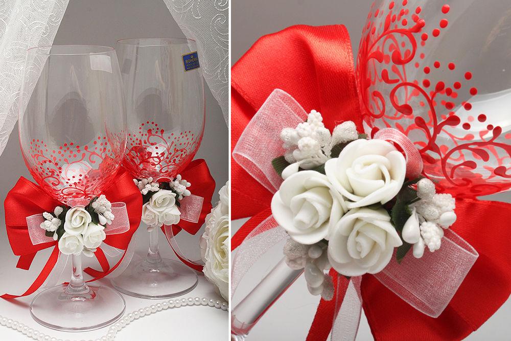 Свадебные бокалы Red flower