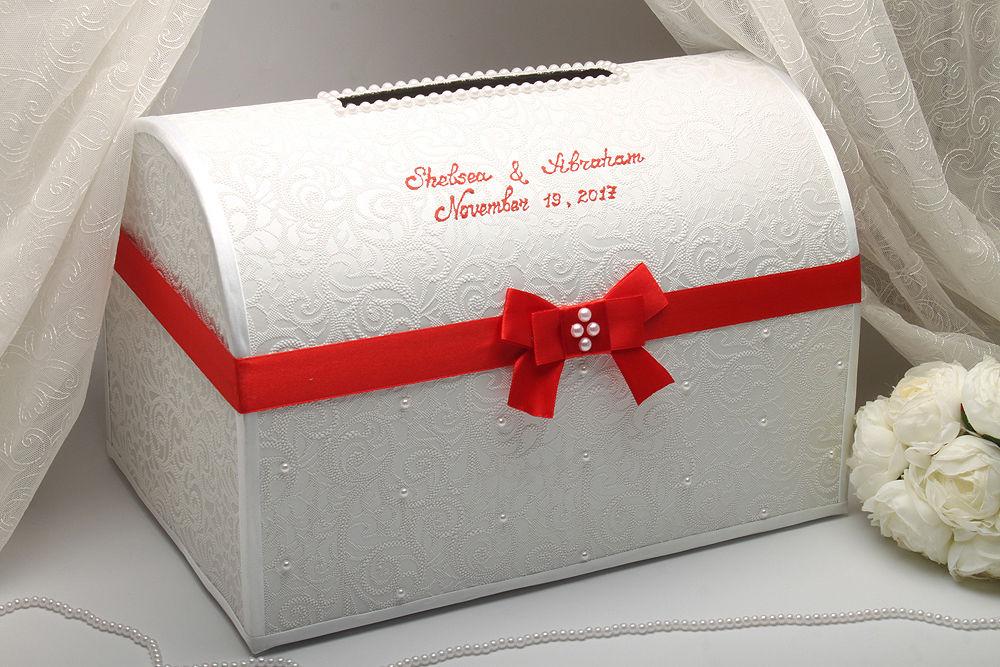 Коробка для денег большая Красный бант