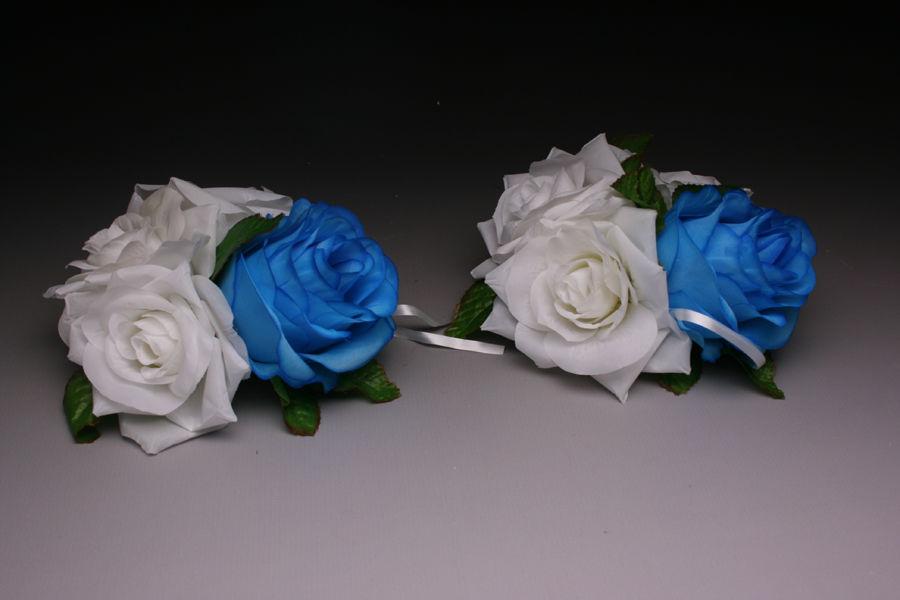 Украшения на ручку авто Синие Розы 2 шт