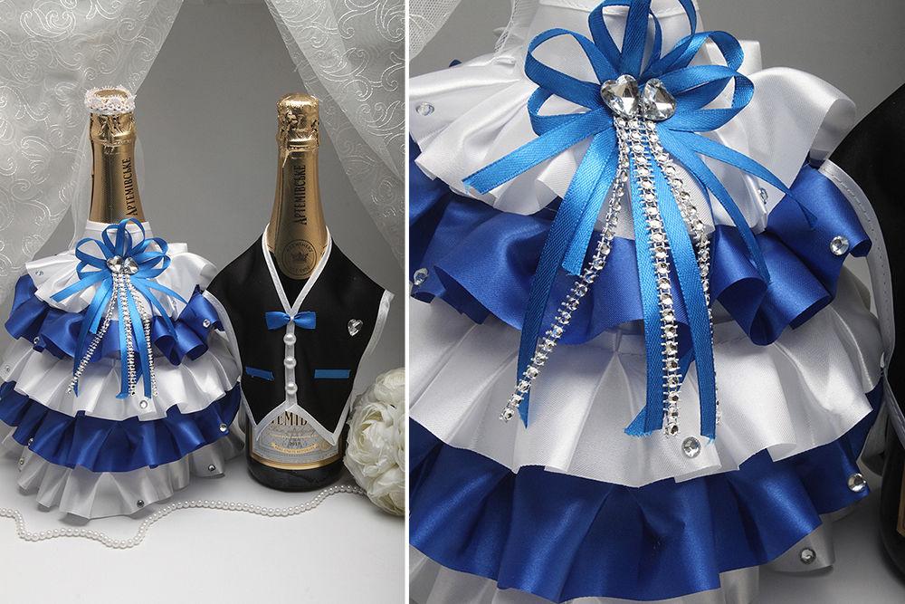 Костюми на весільне шампанське Наречений та Наречена рюш синій