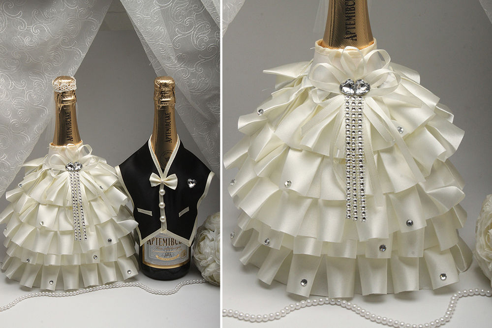 Костюми на весільне шампанське Наречений та Наречена рюш айвори