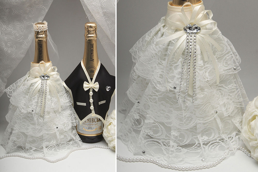 Костюмчики на 2 бутылки шампанского айвори
