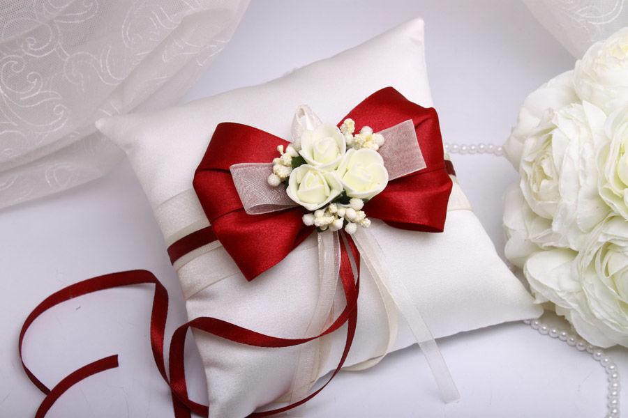 Подушка для колец  Flowers bordo