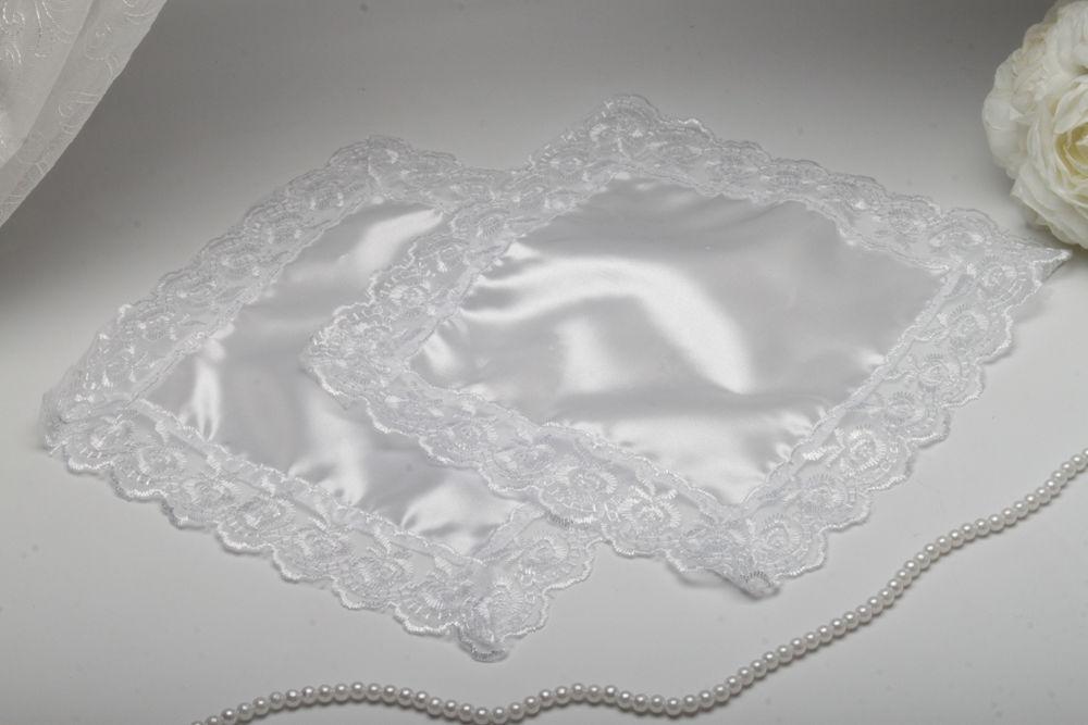Свадебный платочек для свечей кружевной белый