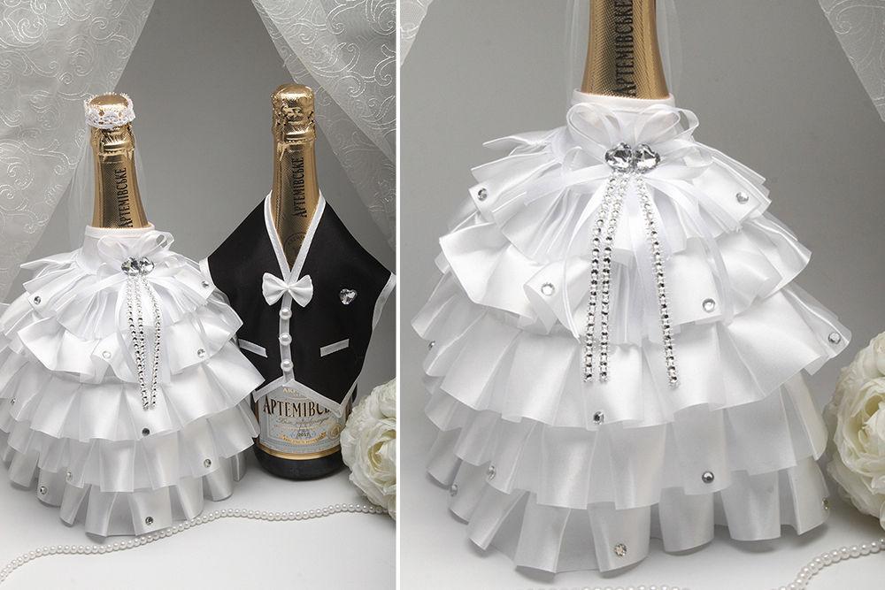 Костюмы на свадебное шампанское Жених и Невеста рюш белый