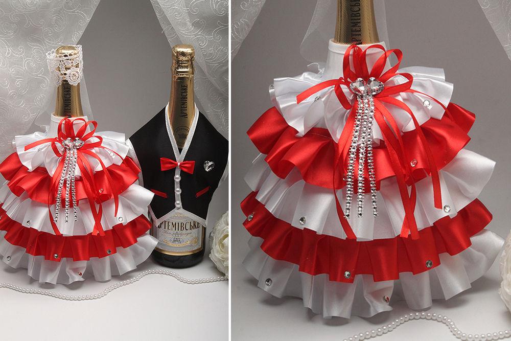 Костюмы на свадебное шампанское Жених и Невеста рюш красный
