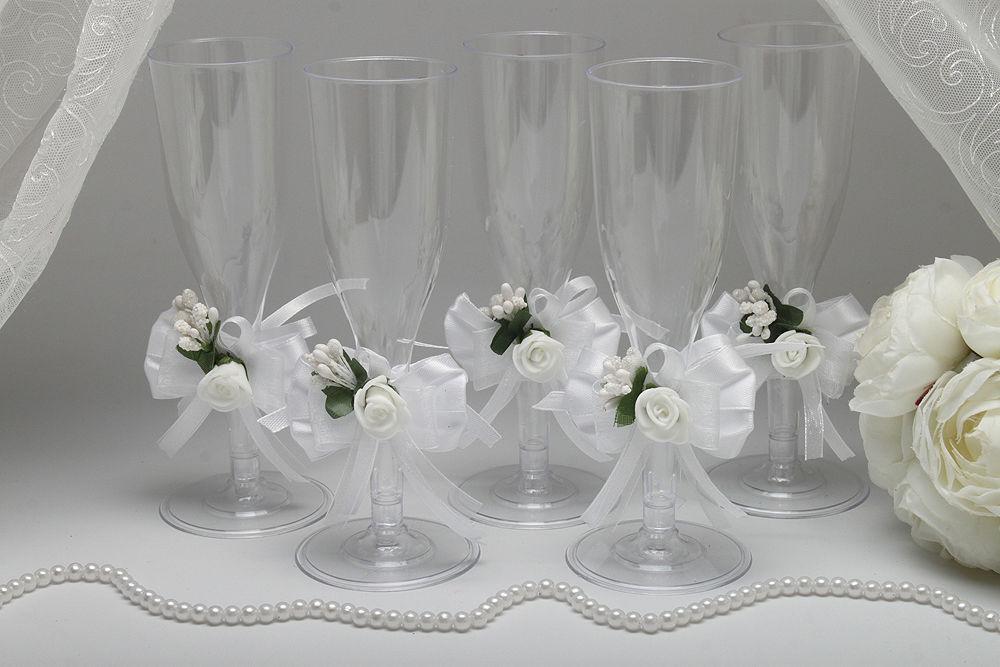 Одноразовые бокалы для шампанского White Flower