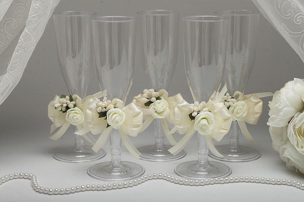 Одноразовые бокалы для шампанского Auvori Flower