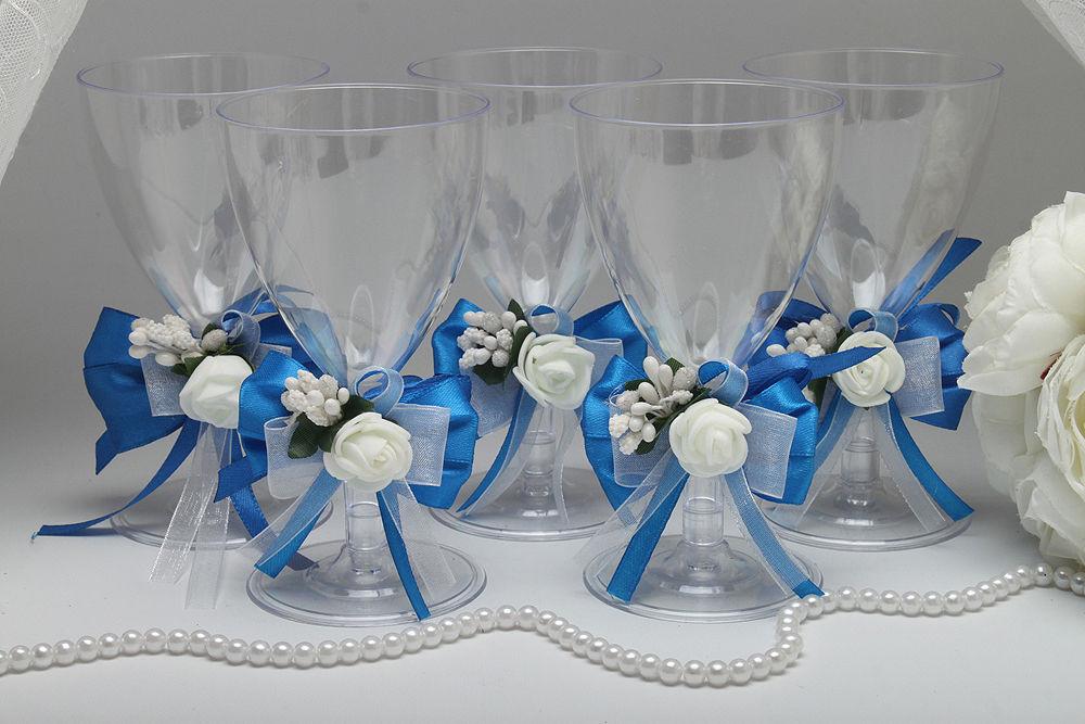Одноразовые бокалы для вина Blue Flower