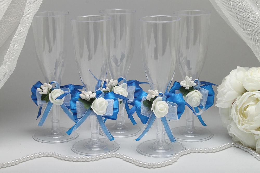 Одноразовые бокалы для шампанского Blue Flower