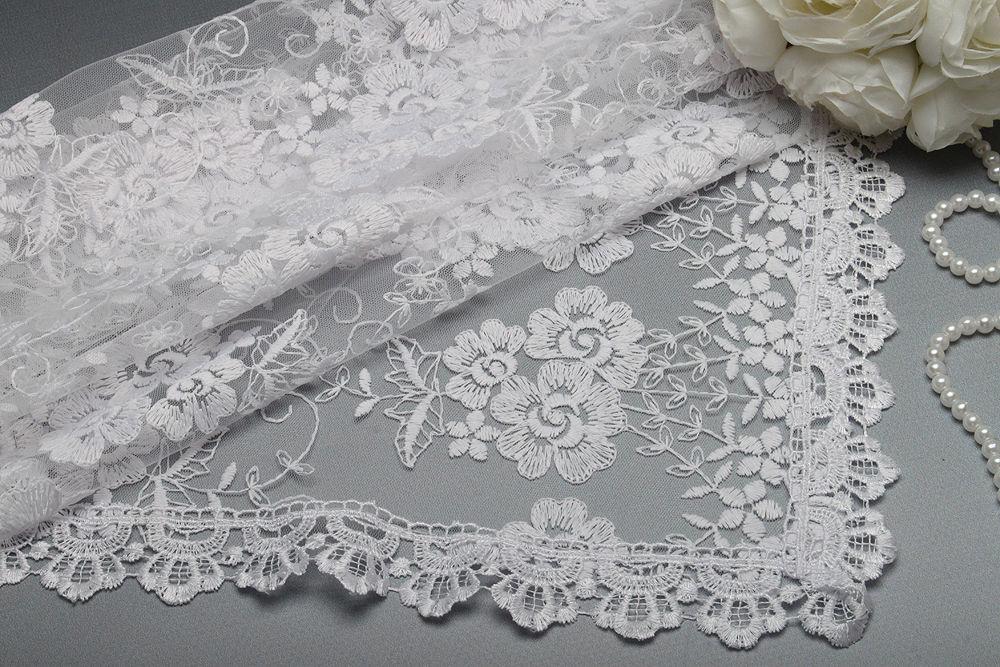 Весільний хустку для нареченої 77х77 см білий Півонії