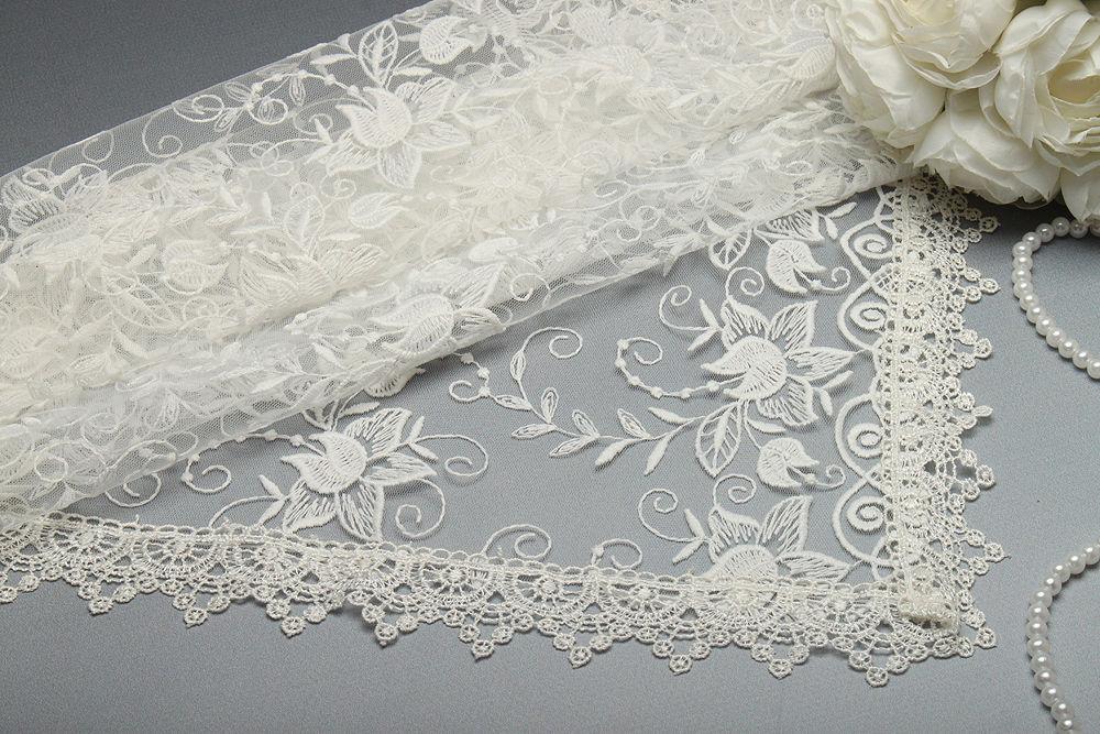 Весільний хустку для нареченої 77х77 см айвори Латаття