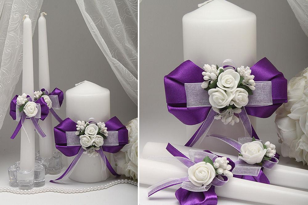 Свадебные свечи Flowers dark purple
