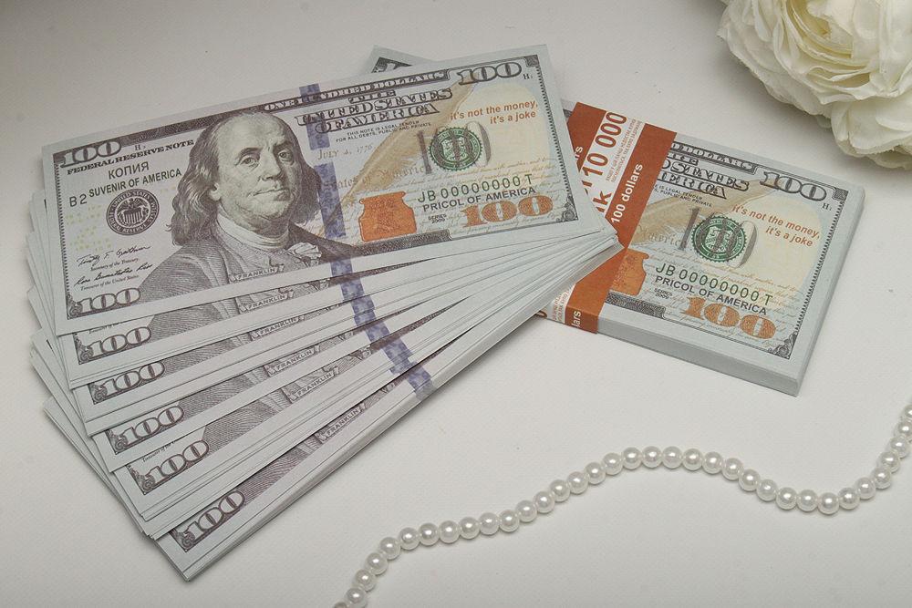 Сувенирные деньги на свадьбу 100 долларов новые