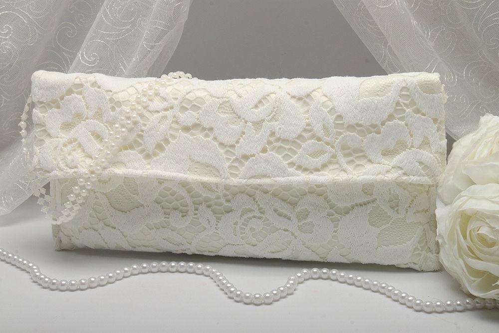 Свадебный клатч ажурный айвори