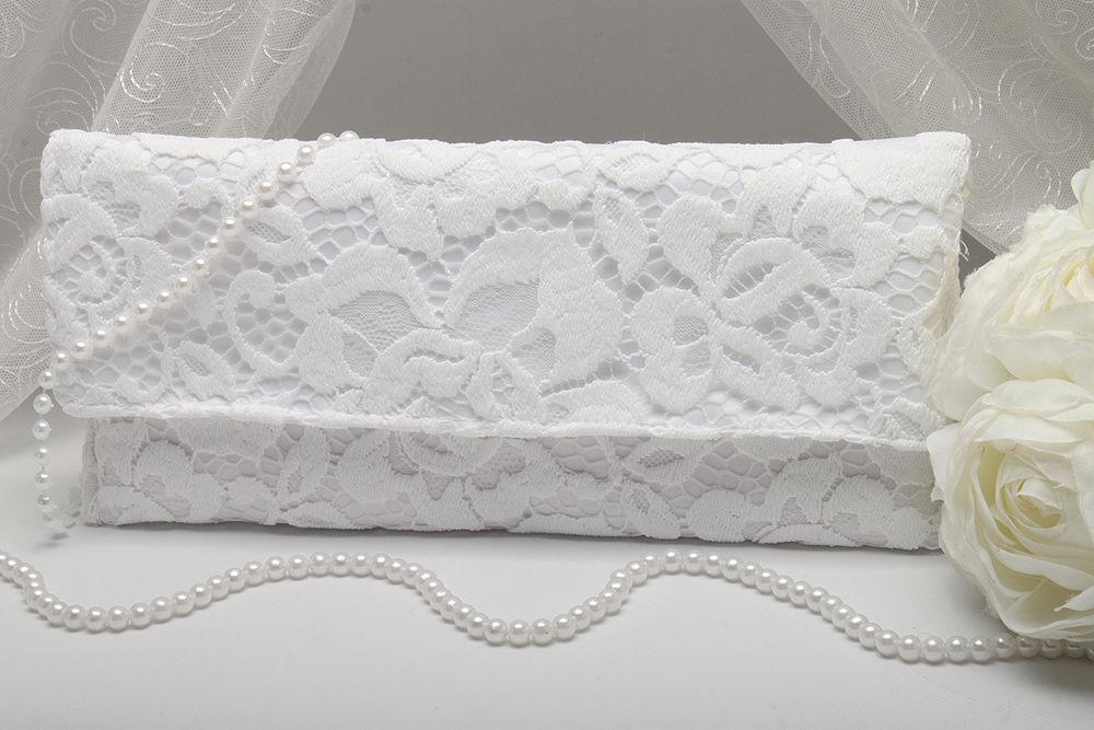 Свадебный клатч ажурный белый