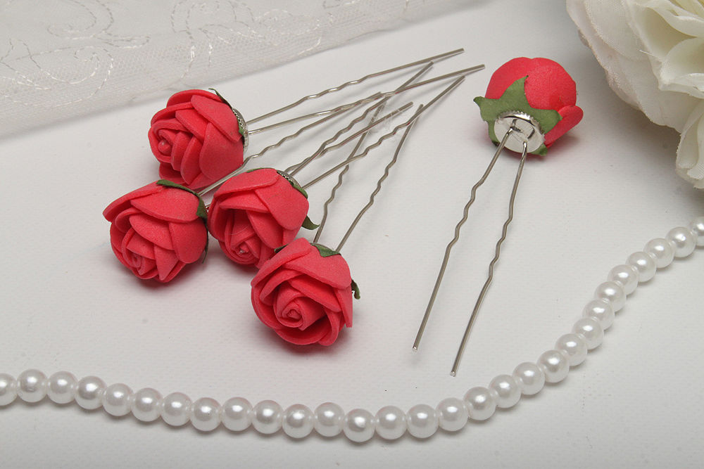 Свадебные шпильки для волос 5 шт Розы кораловые