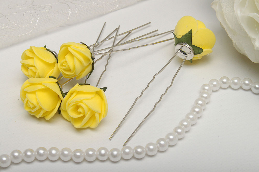 Свадебные шпильки для волос 5 шт Розы желтые