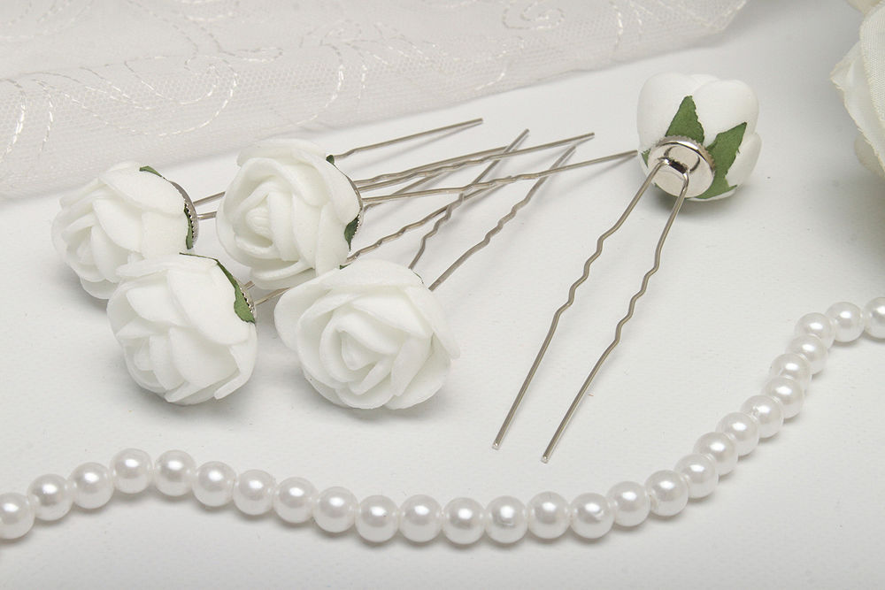 Свадебные шпильки для волос 5 шт Розы белые