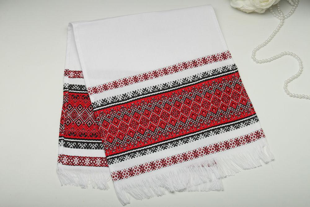 Рушник вишитий тканий на весілля 70 см червоний